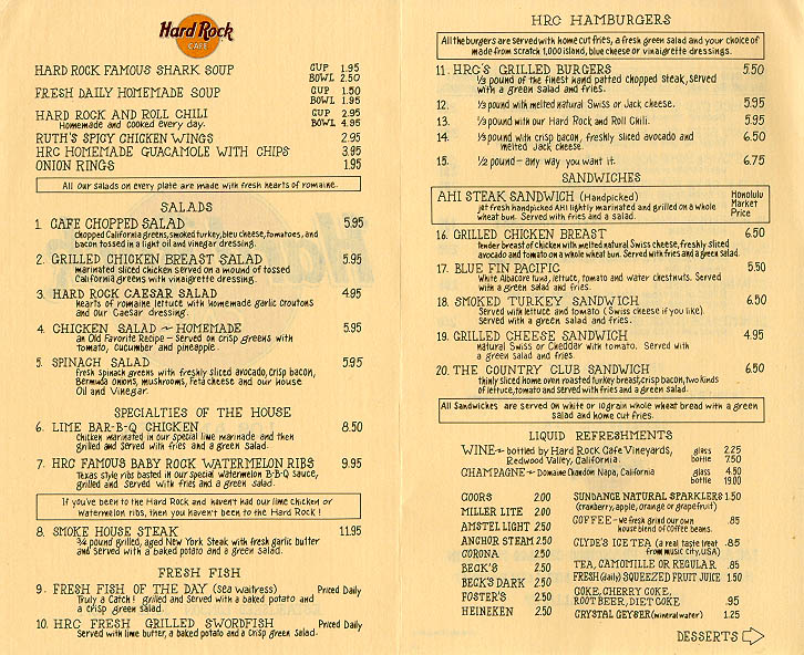 Hard Rock Cafe Rome Vinyl Menu