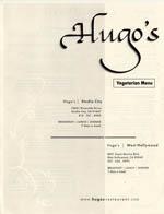 Hugo's - Vegetarian Menu